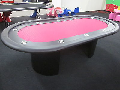 2Nds Floor Stock 8 Foot Pro  Poker Table With Speed Felt Seats 10 Players  [Red]