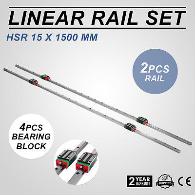 15-1500mm 2x Linear Guideway Rail 4x Square Type Block for 15mm Slotted Block!