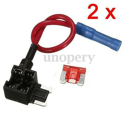 2 Pcs 12V Add A Circuit Micro Blade Fuse Box Holder APS ATT Piggy Back Fuses Tap