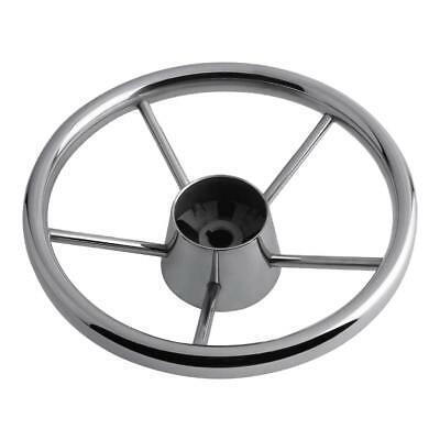 Boat Steering Wheel 304 Stainless Steel 5 Spoke 25 Degree for Marine Yacht