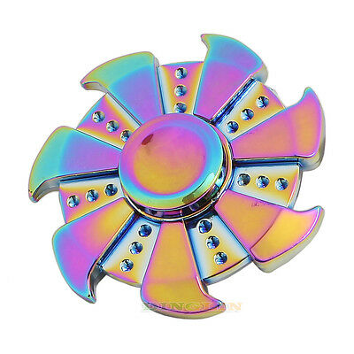 Rainbow Fidget Finger Spinner Hand Focus Spin EDC Bearing Stress Toys UK T39