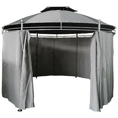 Charles Bentley Round 3.5 Steel Grey Patio Gazebo With Curtain Party Tent