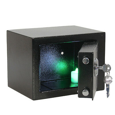 Safe Box Iron Steel Key Operated Security Money Cash Jewelry  Safety Home Office