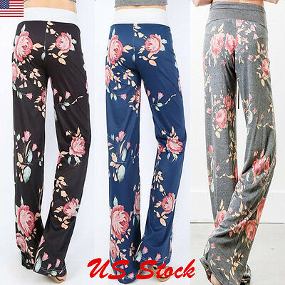 Womens Casual Palazzo Pants High Waist Wide Leg Elastic Band Floral Trousers USA