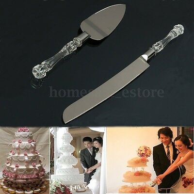 Wedding Party Cake Cutter Shovel Server Stainless Steel & Acrylic Crystal Handle