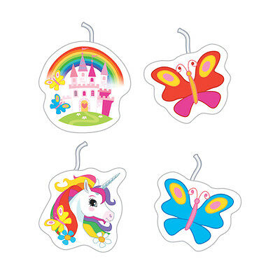 4 Unicorn Party Birthday Cake Candles assorted Unicron Party Supplies Butterfly