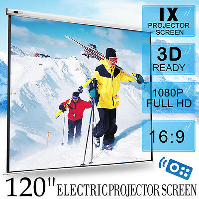 """120"""" Inch Electric Motorised Projector Screen Home Theatre HD TV Projection 3D"""