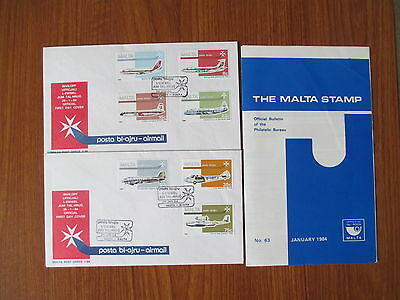 MALTA - 1984 FIRST DAY COVERS (2) - AIRMAIL OFFICIAL FDC No 1/84