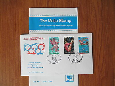 MALTA - 1984 FIRST DAY COVER - OLYMPICS OFFICIAL FDC No 4/84