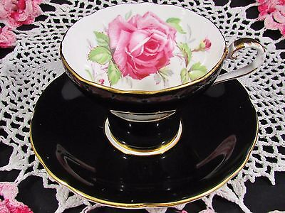 Aynsley Pink Cabbage Rose Black Corset Tea Cup And Saucer