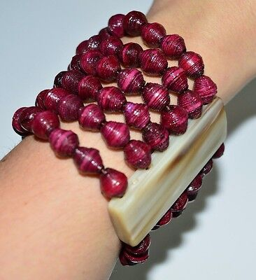 VTG Faux Mother of Pearl Lucite Purple Maroon Beaded Bead Stretch Bracelet