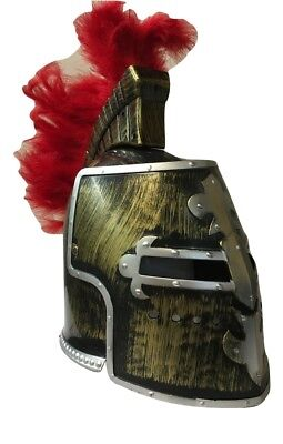 Antique Bronze Gold Medieval Knight Helmet Great Helm Crusader Costume Red Plume
