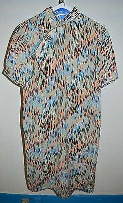 VTG 1960s Cheong-sam Linen Multi-Color Geometric Print Lined Dress M