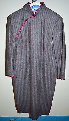 VTG 1960s Cheong-sam Wool Grey Gray Red Stripe Striped Print Lined Dress M