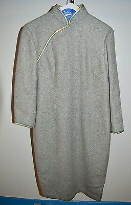 VTG 1960s Cheong-sam Wool Grey Gray Taupe Blue Tweed Lined Dress M