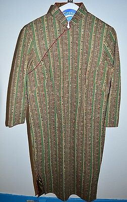 VTG 1960s Cheong-sam Wool Brown Green Taupe Stripe Striped Lined Dress M