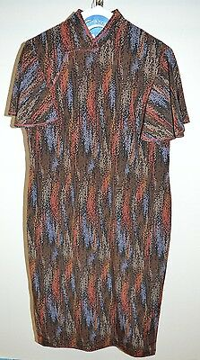 VTG 1960s Cheong-sam Silk Brown Blue Red Multi-Color Geometric Print Dress M