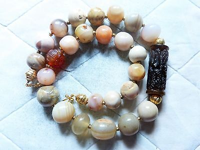 Ancient Islamic Natural Agate Beads Necklace, Carved dragon bead, 22 k gold bds
