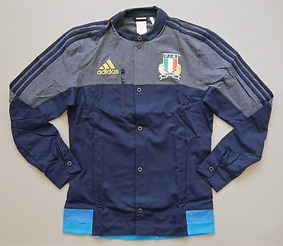 16/17 Italy Adidas adults Rugby anthem jacket - Navy/Royal Blue - Mixed Sizes