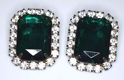 VTG Large 1950's Patent 2733491 Silver Tone Green Clear Rhinestone Clip Earrings