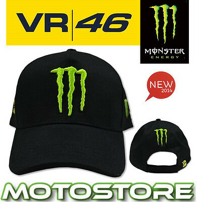 Vr46 Valentino Rossi Monster Energy Cap Official Sponsor Hat Genuine Claw Black