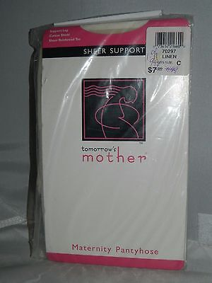 TOMORROW'S MOTHER Maternity Pantyhose Linen Color Size C Reinforced Toe
