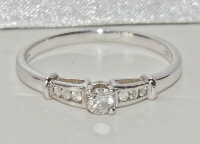 9ct White Gold 0.25ct Diamond Solitaire Ladies Engagement Ring - size H