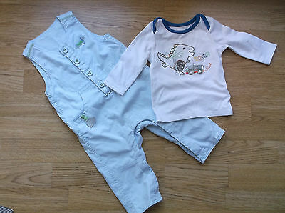 Baby Boys M&S Blue cotton Dungarees and dinosaur T-Shirt age 3-6 Months