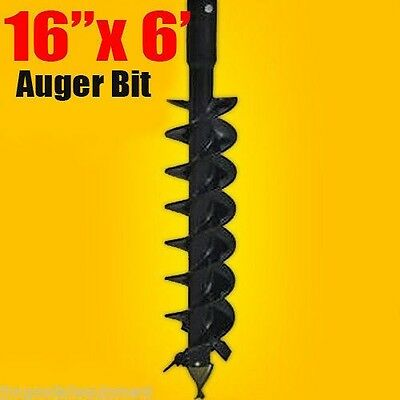 """16""""x 6' Auger Bit HDC 2"""" Hex, For Difficult Digging Conditions,Made In USA"""