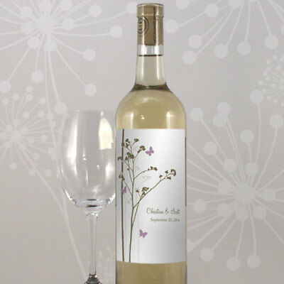 24 Romantic Butterfly Personalized Wedding Wine Bottle Labels