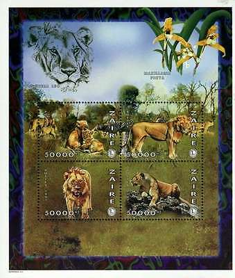 Zaire MNH Sc 1478 Lions Orchids Lions Club Sheet of 4