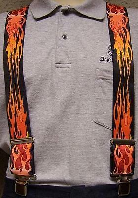 "Suspenders 2""x48"" FULLY Elastic Biker Flames Red NEW"