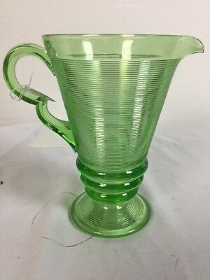 Depressioin glass old english threading pitcher green
