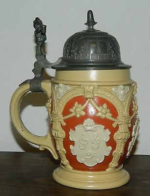 Antique Mettlach stein beer mug with pewter lid from Villeroy & Boch Germany