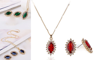Blue, Green Or Red Diamante Rhinestone Crystal Oval Flower Necklace Earrings Set