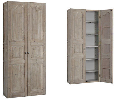 French Country Grey Wash Reclaimed Carved Pine Wood Cabinet/Armoire,87''H.