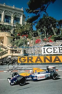 Nigel Mansell Hand Signed Canon Williams Renault 18x12 Photo F1 9.