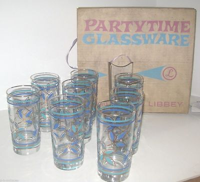 Set Of 8 Libbey PartyTime Drinking Glasses Org Box Mint Retro Mid-Century Design
