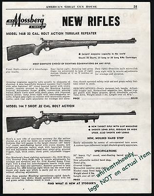 1951 MOSSBERG Model 146B and 144 7 shot Bolt Action Rifle AD w.original prices