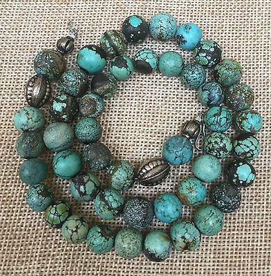 Antique Chinese Spiderweb Turquoise 10-12 mm Bead 22 Inch Necklace 77 Grams