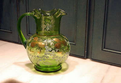 Victorian Green Blown Glass Enameled Flower and Gilt  Pitcher Threaded Handle