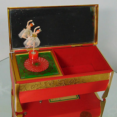 VTG Gold Brass Japanese JEWELRY MUSIC BOX Magnetic BALLERINA Dancer Spins ITO SO