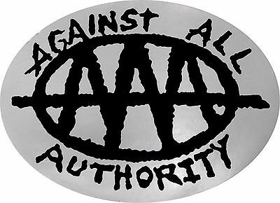 11090 Against All Authority Logo Punk Rock Anarchy Music Oval Sticker / Decal