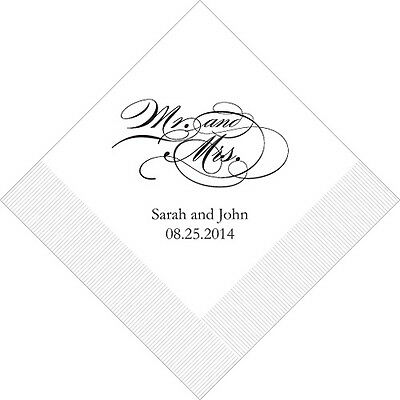 100 Mr and Mrs Script Printed Wedding Luncheon Napkins