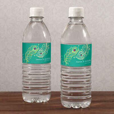 20 Perfect Peacock Water Bottle Labels Bridal Shower Wedding Favors