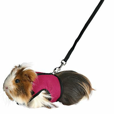 61512 Trixie Guinea Pig Soft Mesh Harness & Lead Set Pink / Blue