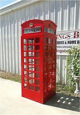England Phone Telephone Booth Red WOOD Old Replica London British