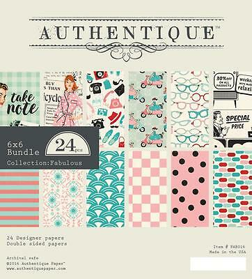 Authentique FABULOUS 6x6 Paper Pad Bundle Scrapbook Planner Home Decor 24pc