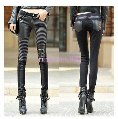 New Women Denim Stitching Motorcycle Jeans PU Leather Pants Skinny Trousers Ch