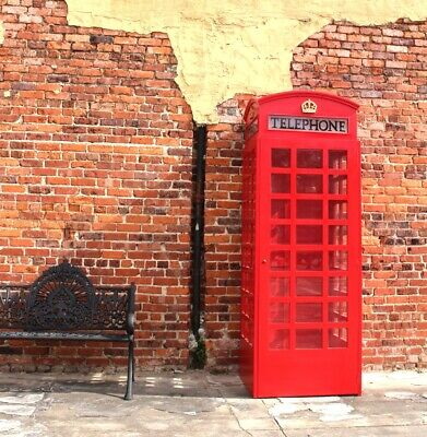 Red British Wooden Phone London Telephone Booth Cast Iron Replica English